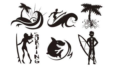Surfistas, olas, conjunto de siluetas de palmeras, hombre y mujer montando olas con tablas de surf, elementos de deportes acuáticos extremos de verano ilustración vectorial