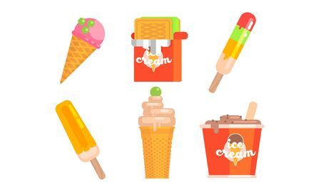 Collection of Different Types of Ice Cream, Tasty Ice Cream Scoop, Waffle Cone, Vector Illustration Иллюстрация