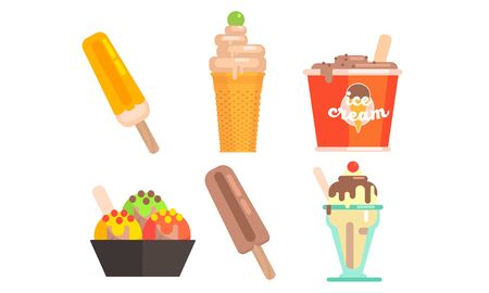 Different Types of Ice Cream Set, Tasty Ice Cream Scoop, Waffle Cone, Vector Illustration