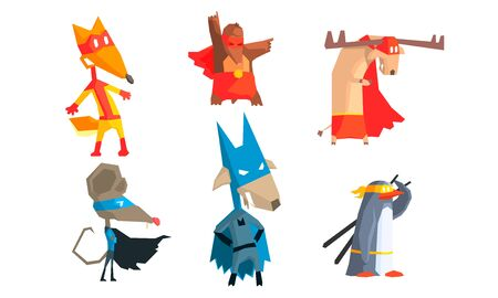 Collection of Funny Animals Characters Dressed as Superheroes with Capes And Masks, Courageous Cute Animals in Different Action Poses Vector Illustration