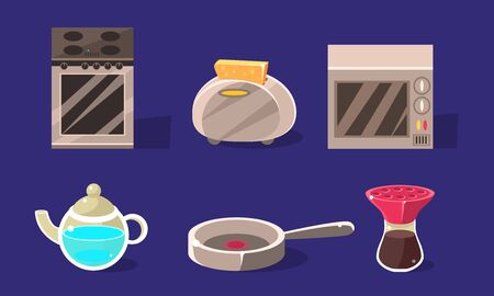 Home Appliances Set, Kitchen Utensil, Electrical Equipment and Kitchenware Vector Illustration