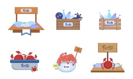 Seafood Market Design Elements Set, Freshness Fish and Sea Products on Counters Vector Illustration Illustration
