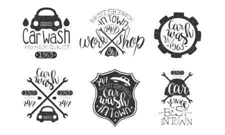Car Wash Best in Town Premium Quality Retro Labels Set, Workshop Service Hand Drawn Badges Monochrome Vector Illustration