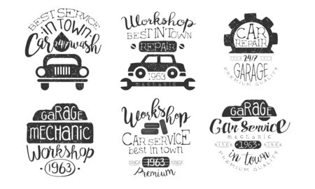 Car Wash Best in Town Premium Quality Retro Labels Set, Workshop, Car Repair Service Hand Drawn Badges Monochrome Vector Illustration