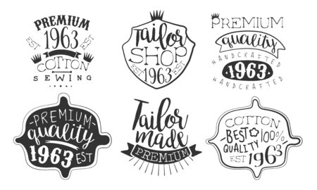 Tailor Shop Premium Retro Labels Set, Best Quality Cotton Hand Drawn Badges Monochrome Vector Illustration