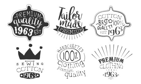 Tailor Made Premium Quality Retro Labels Set, Sewing Cotton Hand Drawn Badges Monochrome Vector Illustration 일러스트