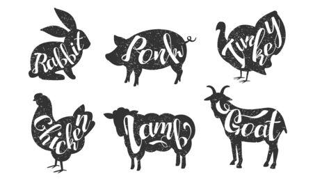 Farm Animals Silhouettes Retro Labels Set, Rabbit, Pork, Turkey, Chicken, Lamb, Goat, Butchery Hand Drawn Badges Monochrome Vector Illustration