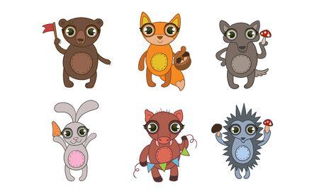 Cute Woodland Animals Set, Bear, Fox, Wolf, Hare, Boar, Hedgehog Vector Illustration on White Background.