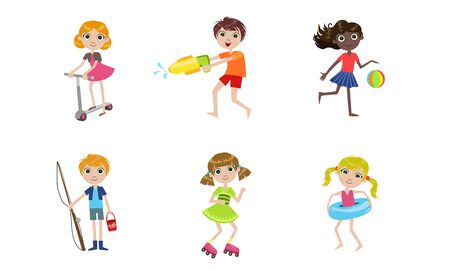 Summer Kids Outdoor Activities Set, Boys and Girls Playing with Toys, Riding Kick Scooter, Rollerblading, Fishing, Swimming Vector Illustration