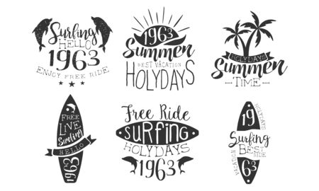 Summer Time Retro Labels Set, Best Vacation, Free Ride Surfing Holidays Hand Drawn Badges Vector Illustration Vettoriali