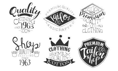 Tailor Shop Premium Retro Labels Set, Shop Quality Hand Drawn Badges Monochrome Vector Illustration Illustration