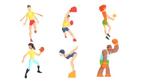 People Performing Various Sports Activities Set, Young Men and Women Training and Exercising with Sports Equipment Vector Illustration Stock Illustratie