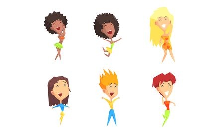 Happy People Cartoon Characters Set, Guys and Girls Dancing, Jumping and Having Fun Vector Illustration on White Background.