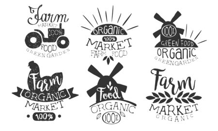 Organic Market Retro Labels Set, Farm Food Hand Drawn Badges Monochrome Vector Illustration Standard-Bild - 129039343