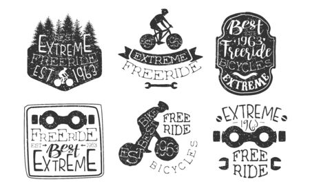Extreme Freeride Premium Retro Labels Set, Bicycle Sport Hand Drawn Badges Monochrome Vector Illustration Reklamní fotografie - 129039356