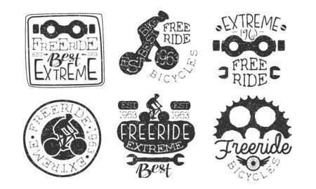 Extreme Freeride Retro Labels Set, Bicycle Sport Hand Drawn Badges Monochrome Vector Illustration Ilustrace