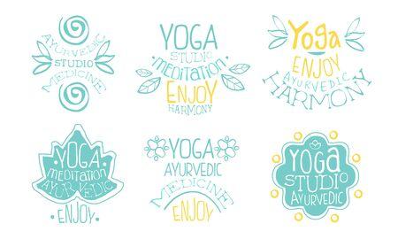 Ayurvedic Medicine Studio Labels Set, Meditation Studio, Enjoy Harmony Hand Drawn Badges Vector Illustration Archivio Fotografico - 129039469