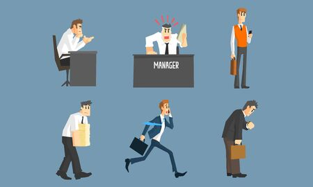 Business People Working in Office Set, Male and Female Managers Characters in Different Situations Cartoon Vector Illustration. Vektoros illusztráció