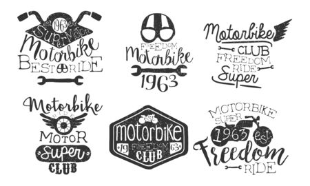Motorbike Club Retro Labels Set, Freedom Ride Hand Drawn Badges Monochrome Vector Illustration Vectores
