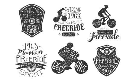 Bicycle Extreme Sport Retro Labels Set, Freeride Hand Drawn Badges Monochrome Vector Illustration