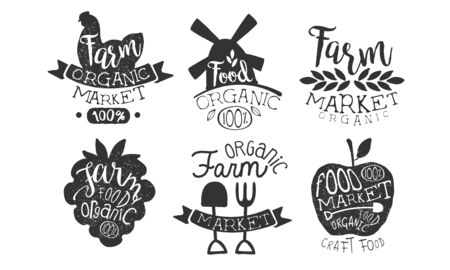 Farm Market Retro Labels Set, Organic Craft Food Hand Drawn Badges Monochrome Vector Illustration Standard-Bild - 129039580