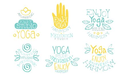 Ayurvedic Medicine Studio Labels Set, Enjoy Yoga Harmony Meditation Studio Hand Drawn Badges Vector Illustration Archivio Fotografico - 129039594