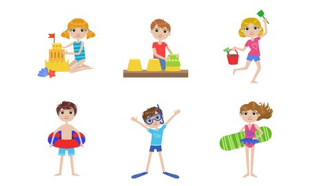 Summer Kids Outdoor Activities Set, Boys and Girls Swimming, Playing with Sand, Making Sandcastle Vector Illustration Illustration