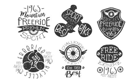 Mountain Freeride Premium Retro Labels Set, Bicycle Extreme Sport Hand Drawn Badges Monochrome Vector Illustration