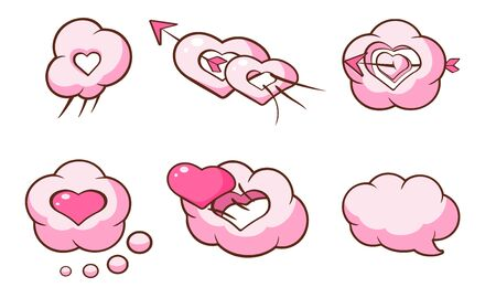 Cute Pink Heart Shaped Clouds and Speech Bubbles Set, Saint Valentines Day Design Elements Cartoon Vector Illustration.
