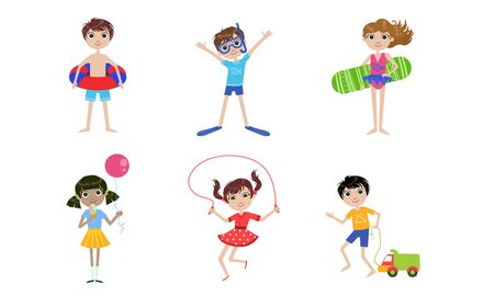Summer Kids Outdoor Activities Set, Boys and Girls Swimming, Playing Toys, Jumping with Rope Vector Illustration