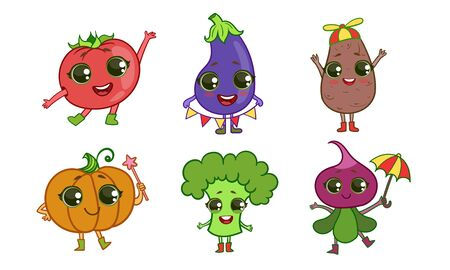 Colorful Cute Vegetables Set, Vegetarian Food Characters with Funny Faces, Tomato, Eggplant, Potato, Pumpkin, Broccoli, Beetroot Vector Illustration