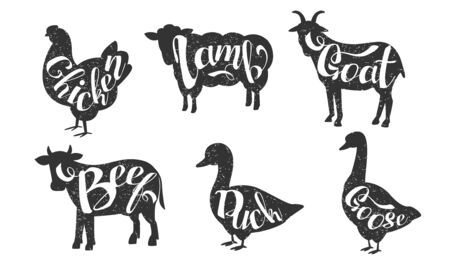 Farm Animals Silhouettes Retro Labels Set, Beef, Duck, Goose, Chicken, Lamb, Goat, Butchery Hand Drawn Badges Monochrome Vector Illustration  イラスト・ベクター素材