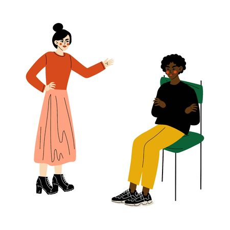 Furious Girl Quarreling with Young Man Who Sitting on Chair, Disagreement in Relationship, Negative Emotions Vector Illustration on White Background. Illustration