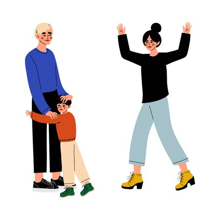 Furious Wife Quarreling with Her Husband Who Hugging Frightened Boy, Family Conflict, Divorce, Disagreement in Relationship, Negative Emotions Vector Illustration on White Background.