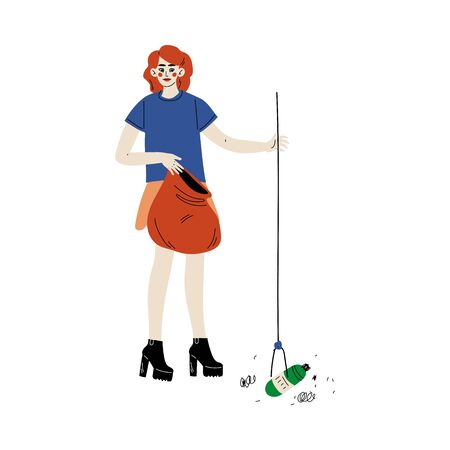 Girl Gathering Garbage and Waste for Recycling, Female Volunteer Picking Up Plastic Garbage in Park, Volunteering, Ecological Lifestyle Vector Illustration
