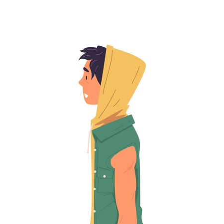 Young Man in T-shirt with Hood and Short Sleeve Side View Vector Illustration True Style on White Background.