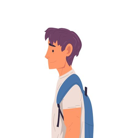 Young Man with Backpack Side View Vector Illustration True Style