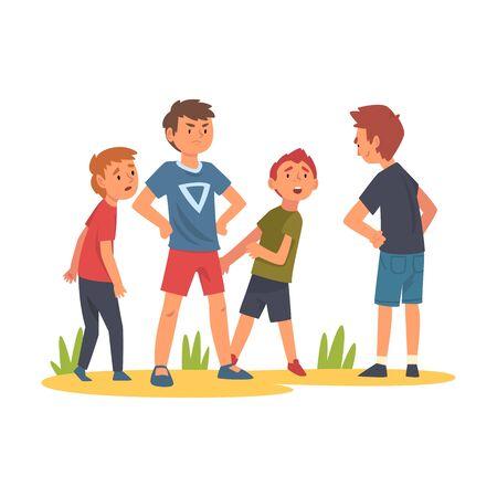 Junge, der versucht, einen Jungen zu stoppen, der Kinder schikaniert, ein Kind, das einen kleinen Jungen und ein Mädchen verteidigt, die hinter ihm stehen Vektor-Illustration Vektorgrafik