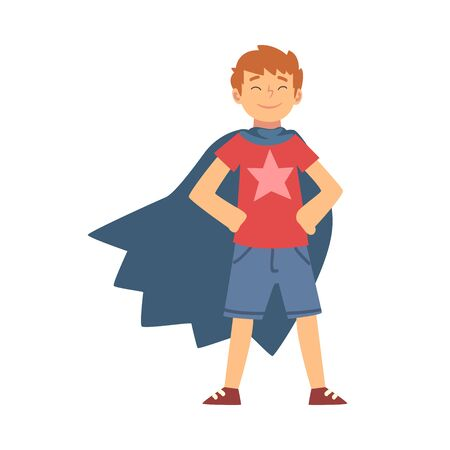 Cute Brave Boy Character in Blue Cape Vector Illustration