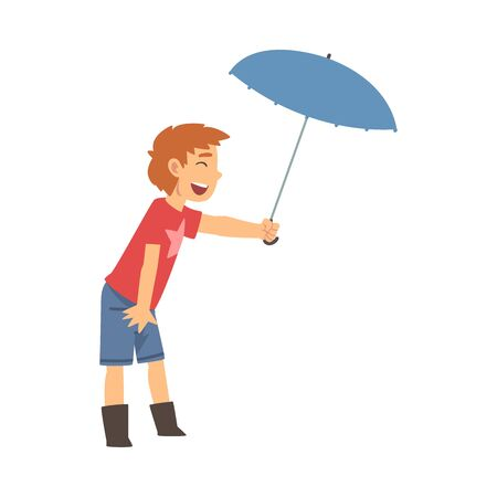 Cute Smiling Boy with Umbrella, Polite Boy, Good Manners Vector Illustration