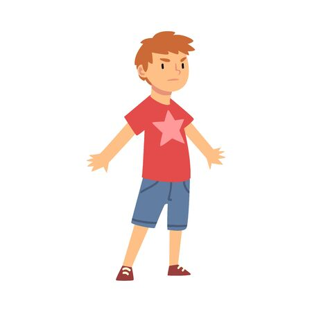Cute Brave Little Boy Character Standing in Defender Pose Vector