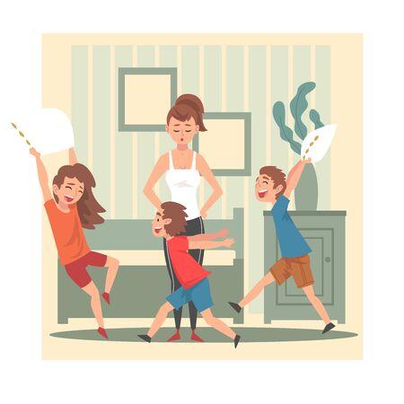 Madre e i suoi bambini dispettosi, bambini che si divertono a casa, bambini cattivi e turbolenti, illustrazione vettoriale di cattivo comportamento del bambino, stile piatto.