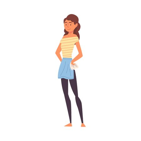 Young Woman in Apron Standing with Rag, Housewife Female Character, Girl Doing Housework Vector Illustration on White Background. Ilustrace