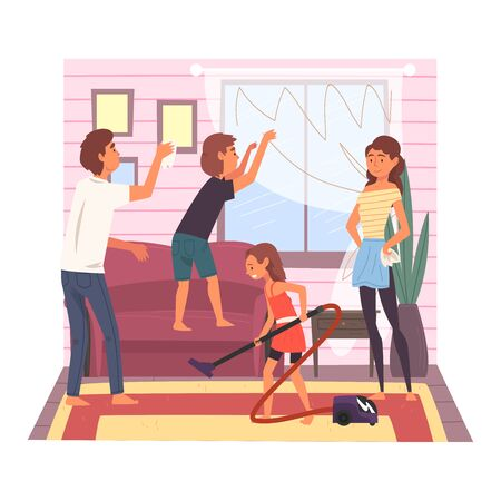 Father, Mother and Their Children Cleaning Room Together, Girl Vacuuming the Floor, Boy Washing Window, Family Cleaning Home on Weekend Vector Illustration