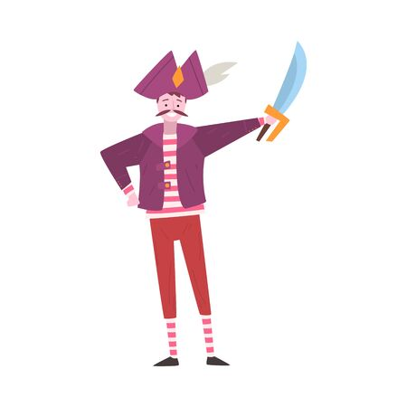Young Man Dressed as Pirate, Guy in Festival Costume, Masquerade Ball, Person Taking Part at Carnival Party or Holiday Celebration Vector Illustration