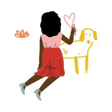 Cute Kneeling African American Girl Drawing Dog on Wall with Color Pencils, View From Behind Vector Illustration