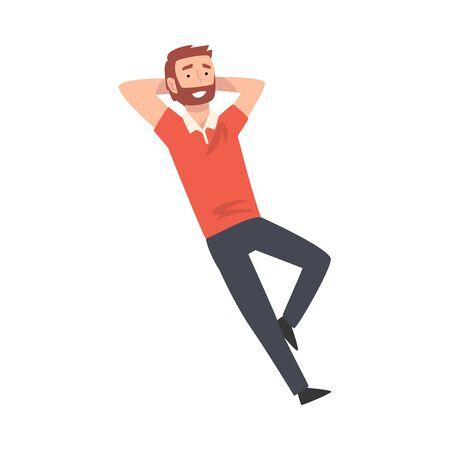 Homme barbu souriant couché et relaxant Illustration vectorielle Vecteurs