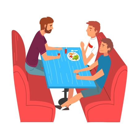 Young Men Eating and Talking in Food Court in Shopping Mall Vector Illustration Ilustração Vetorial
