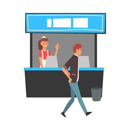 Food Court in Shopping Mall or Business Center, Fast Food Restaurant Worker Vector Illustration on White Background.