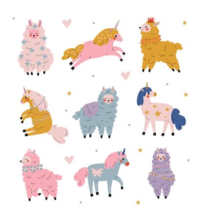 Cute Llamas and Unicorns Set, Adorable Animals Characters Vector Illustration